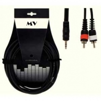 CABLE AUDIO MINI JACK ESTEREO - 2 RCA MACHO MONO 3 METROS