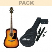 GUITARRA ACÚSTICA PACK IBANEZ 4/4 V50NJP-VS, FUNDA, AFINADOR, CORREA, BOLSA PÚAS.VINTAGE SUNBURST HIGH GLOSS FINISH